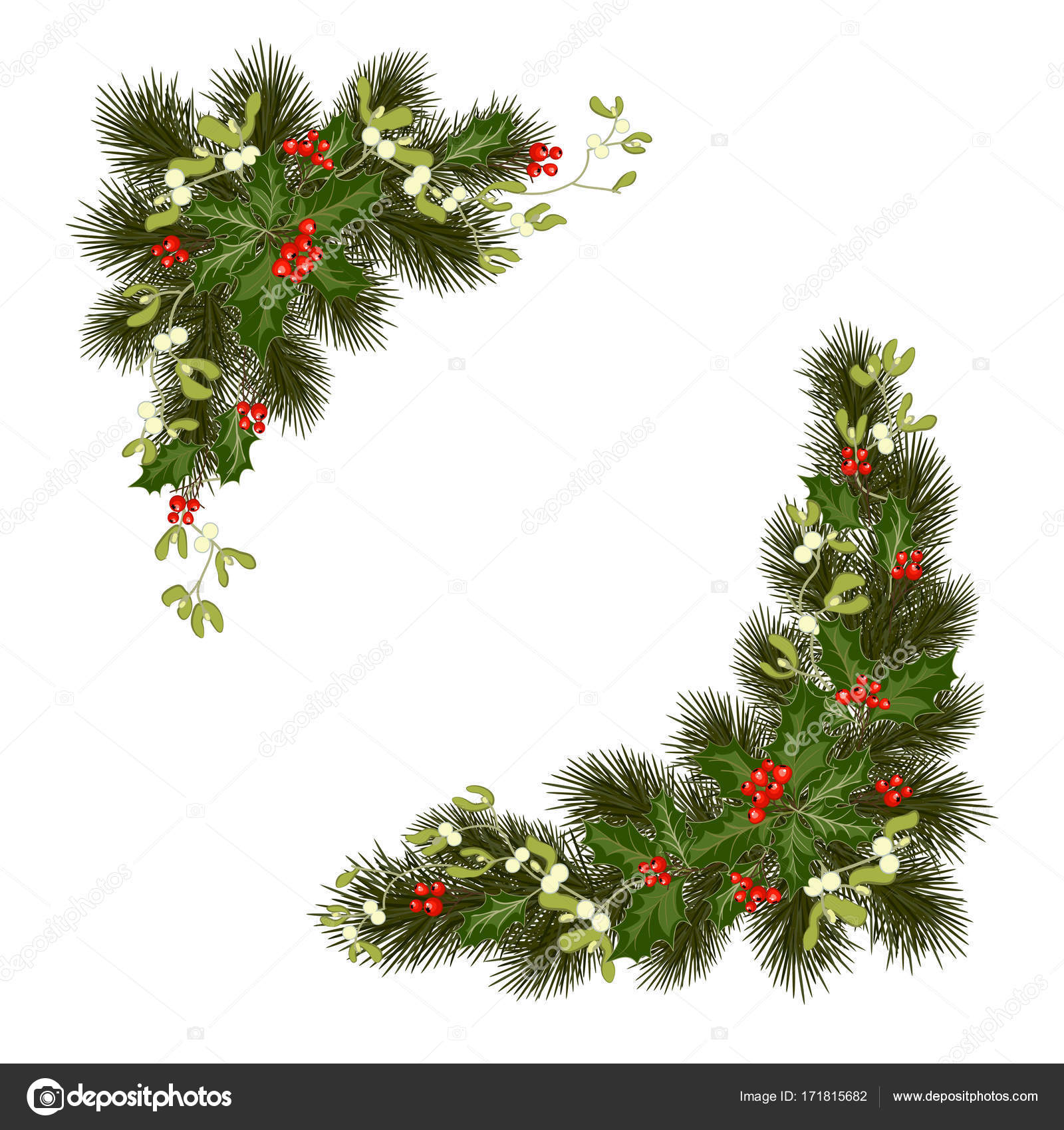 christmas decorations with fir tree holly berries mistletoe and decorative elements design element for christmas decoration