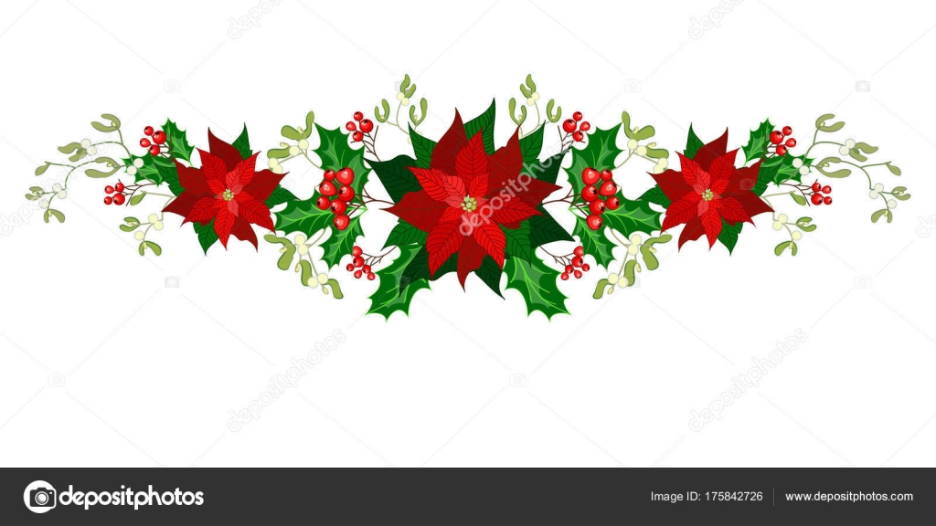 Christmas decorations with poinsettia, holly, berry and mistletoe. Design element for Christmas decoration. Vector illustration — Vector by Vasimila