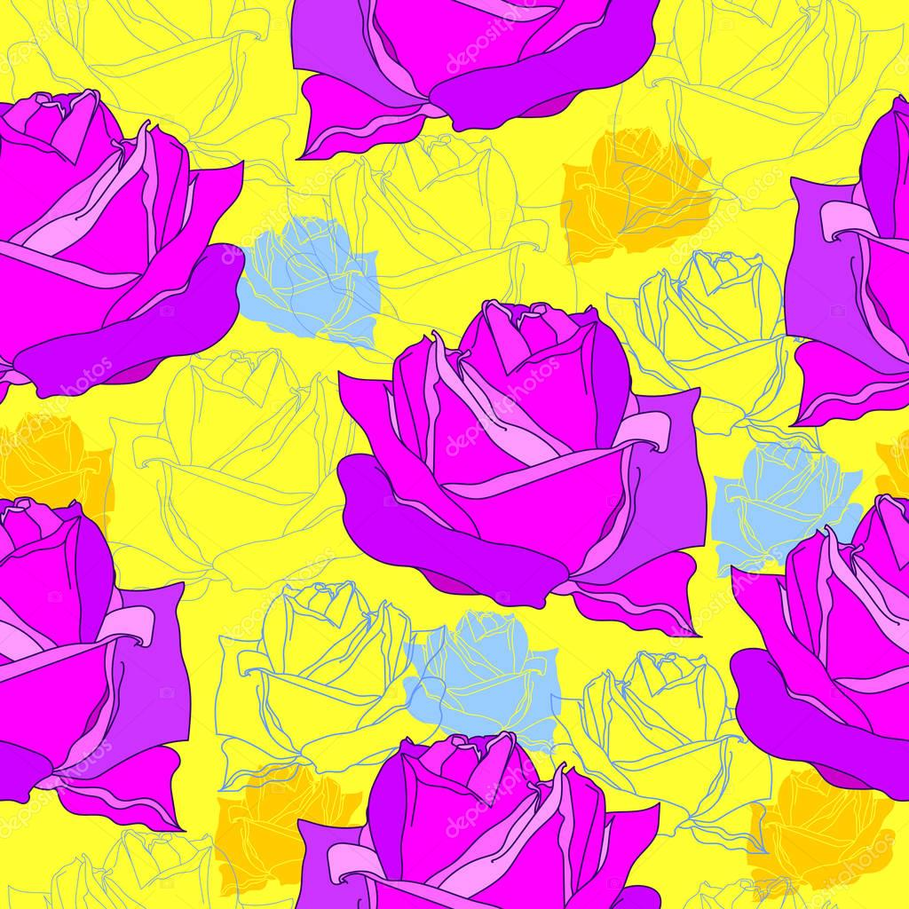 Floral seamless pattern. Vector background with flowers. Hand drawn artwork for textiles, fabrics, souvenirs, packaging and greeting cards.