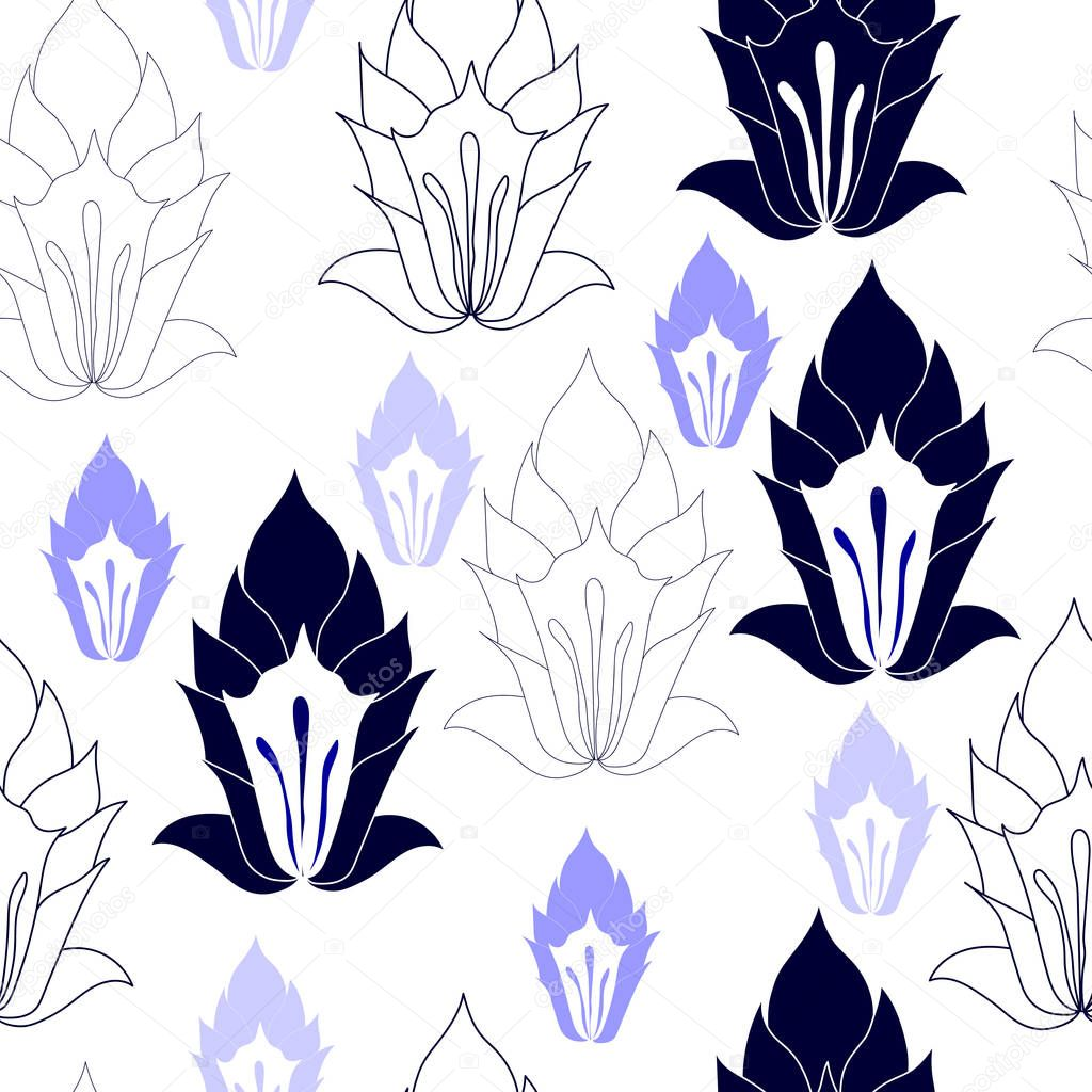 Seamless pattern with blue flowers on a white background. Hand drawn floral texture.