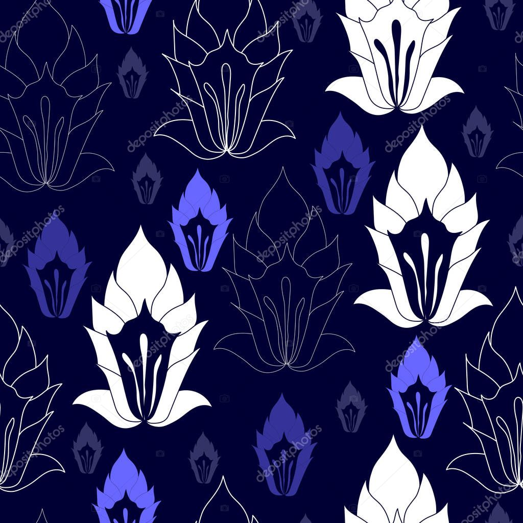 Seamless pattern with white flowers on a blue background. Hand drawn floral texture.