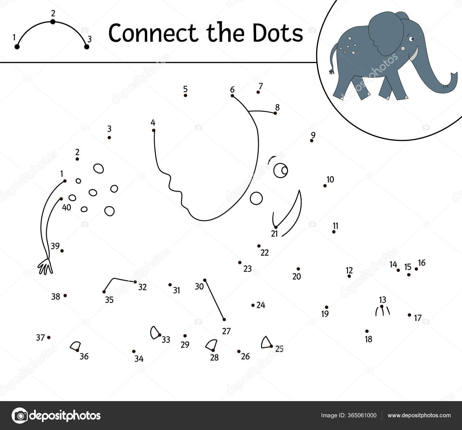 Vector Dot Dot Activity Cute Animal Connect Dots Game Elephant ...
