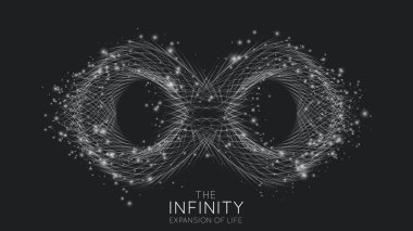 Infinity expansion of life. Vector infinity sign explosion background. Small particles strive out of center. Blurred debrises into rays or lines under high speed of motion. Burst, explosion backdrop