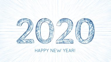 Vector 2020 text constructed with glowing lines with lightspeed burst on background. Bright Happy New Year technological card. Abstract greeting card