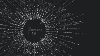 Expansion of life. Vector sphere explosion background. Small particles strive out of center. Blurred debrises into rays or lines under high speed of motion. Burst, explosion backdrop