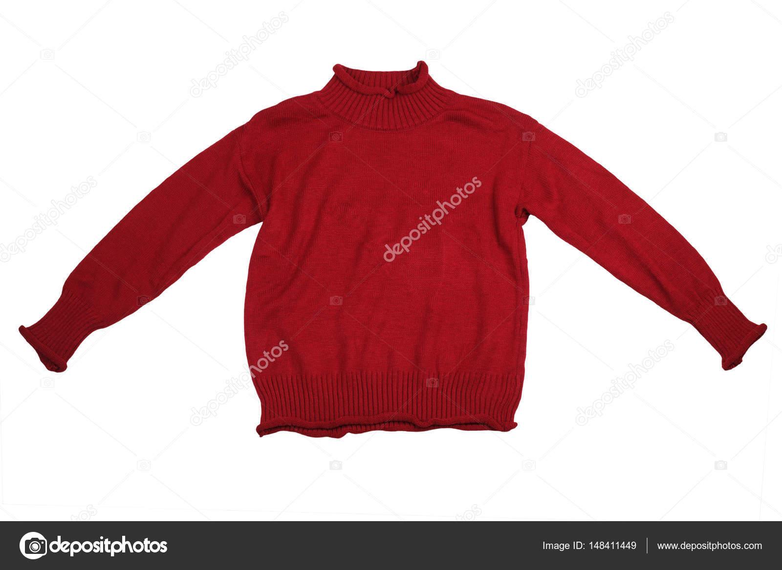 f9ce8c6cd Moda camisolas vermelhas roupas para temporada de inverno isoladas no branco  — Fotografia de Stock