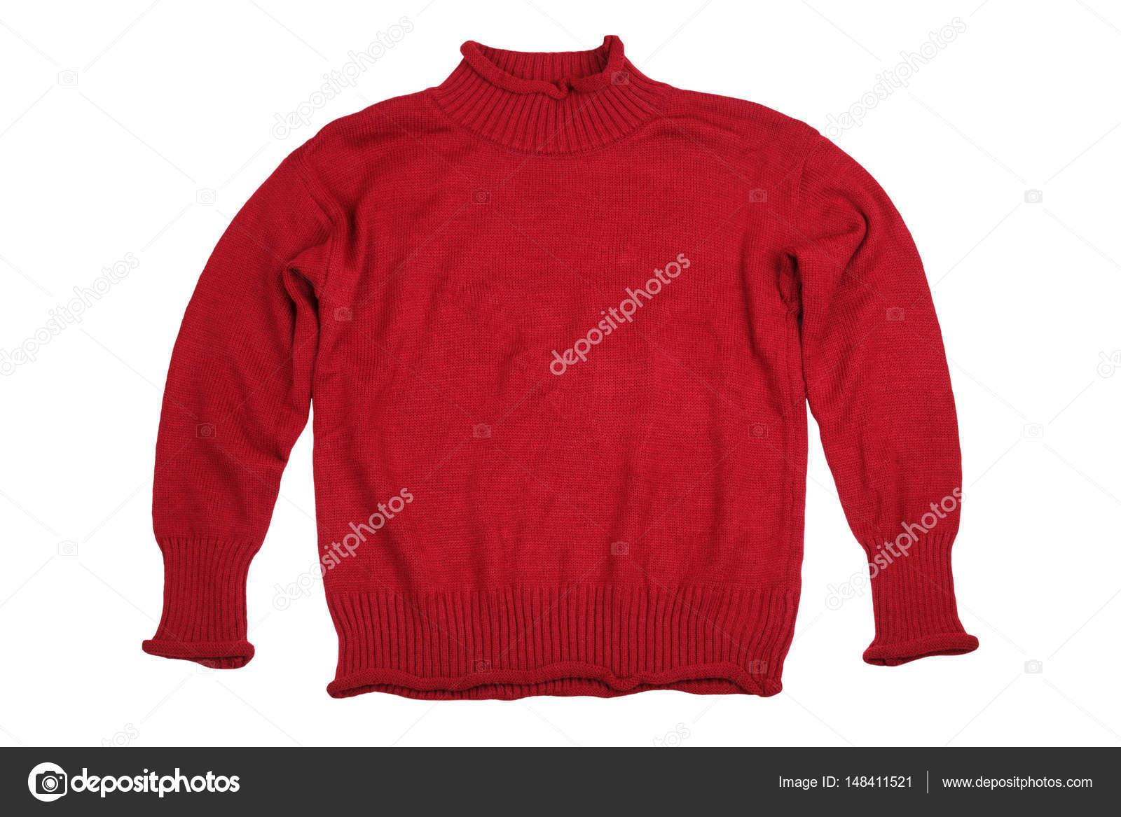 3c4470d54 Moda camisolas vermelhas roupas para temporada de inverno isoladas no fundo  branco — Fotografia por ...