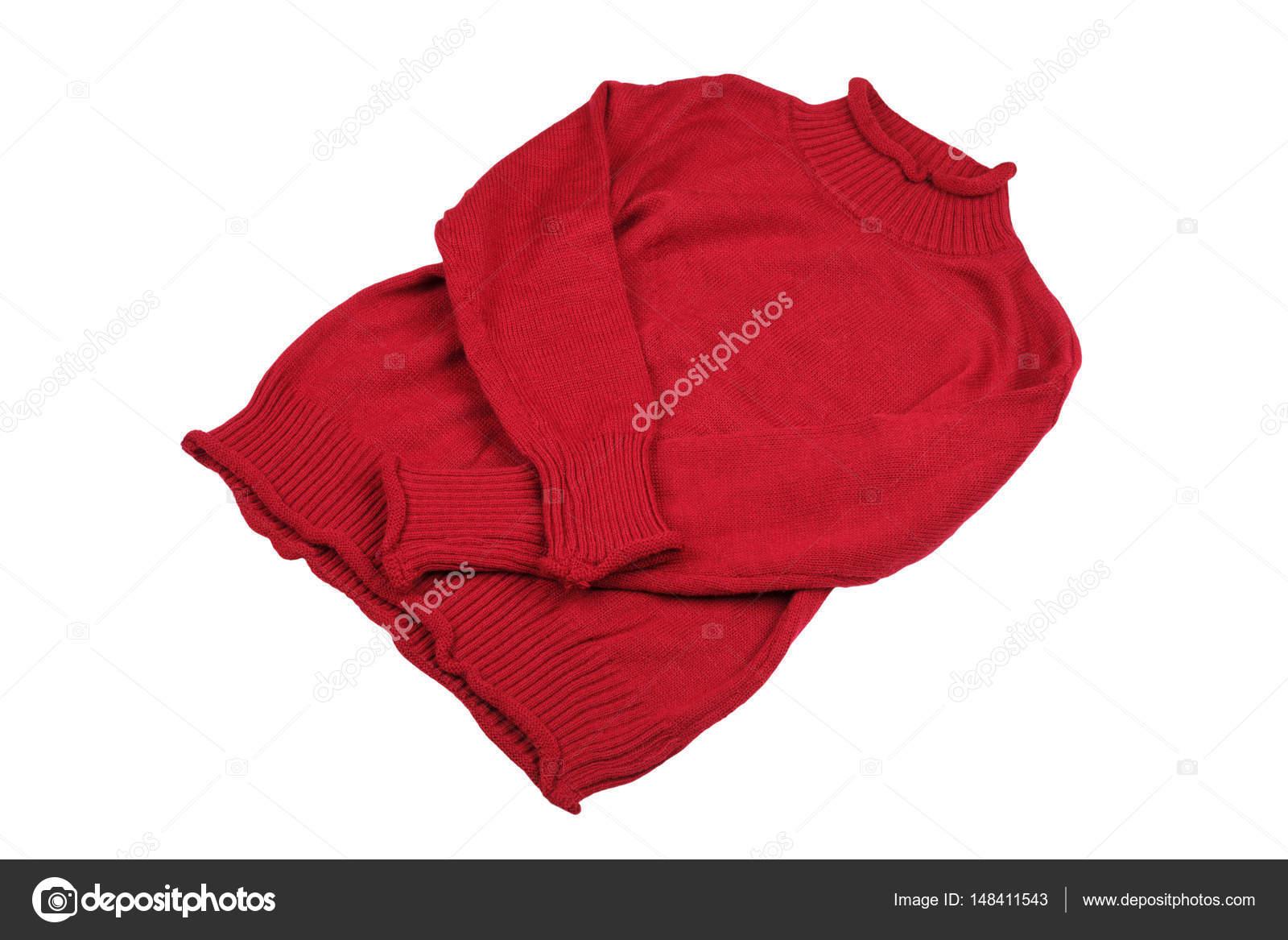 a98e0171a Moda camisolas vermelhas roupas para temporada de inverno isoladas no fundo  branco — Foto de ...
