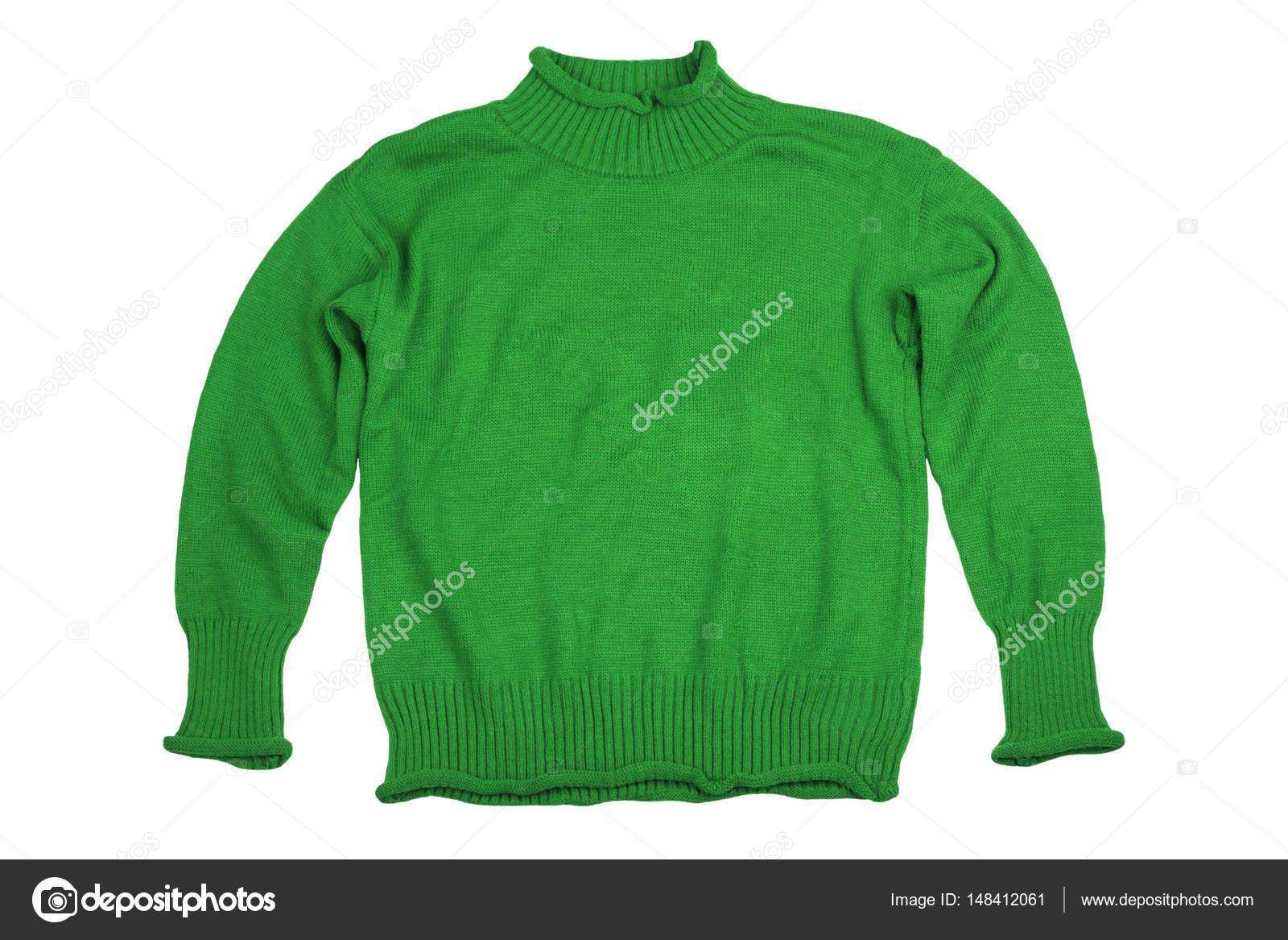 e7aebe400 Camisolas de gren moda roupas para temporada de inverno isolada no whi —  Fotografia de Stock