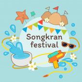 The fream of songkran festival .Amazing Thailand Songkran festiv