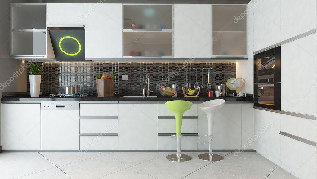 Mobili In Legno Bianco : Cucina design con mobili in legno di colore bianco u foto stock
