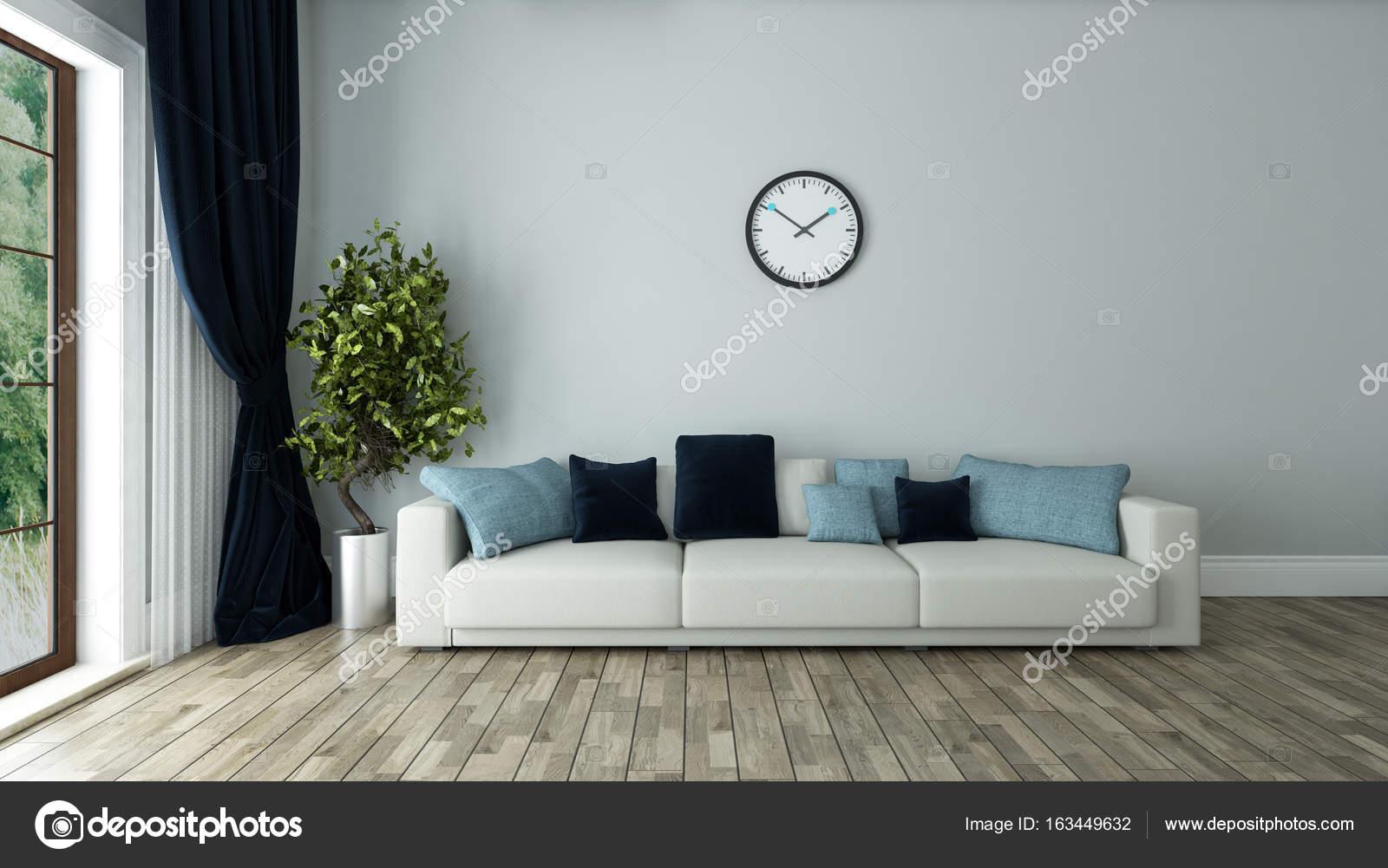 blauwe muur woonkamer met horloge — Stockfoto © sseven #163449632