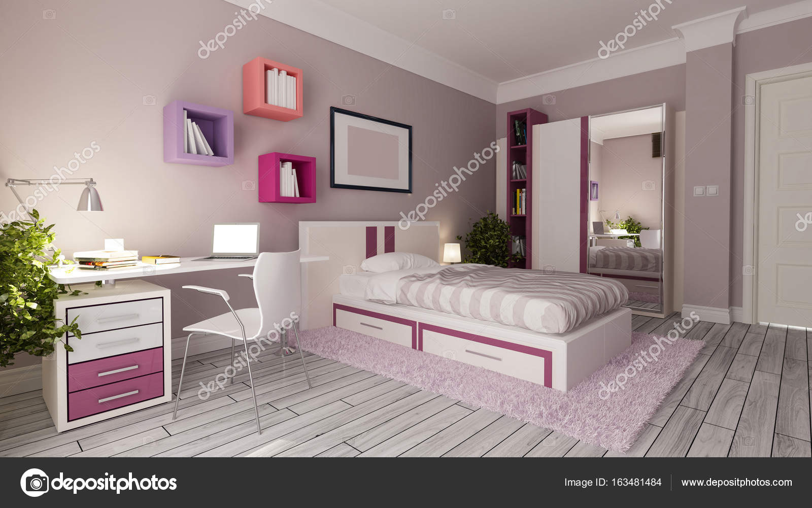 tiener meisje slaapkamer design idee — Stockfoto © sseven #163481484