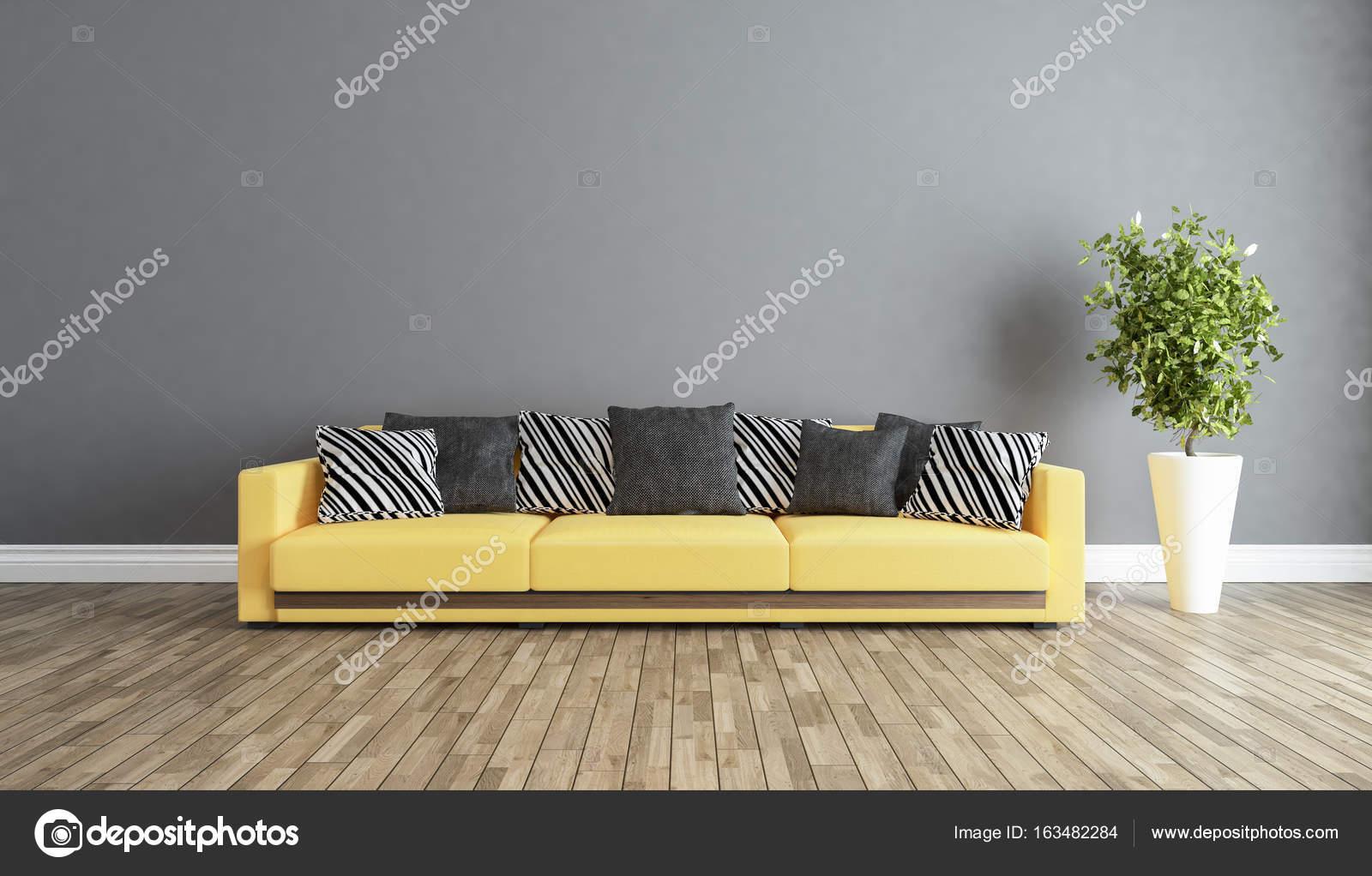 soggiorno con idea di interior design parete grigia — Foto Stock ...