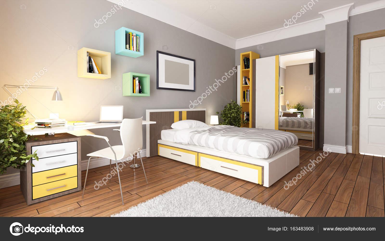 tiener jonge slaapkamer design idee stockfoto