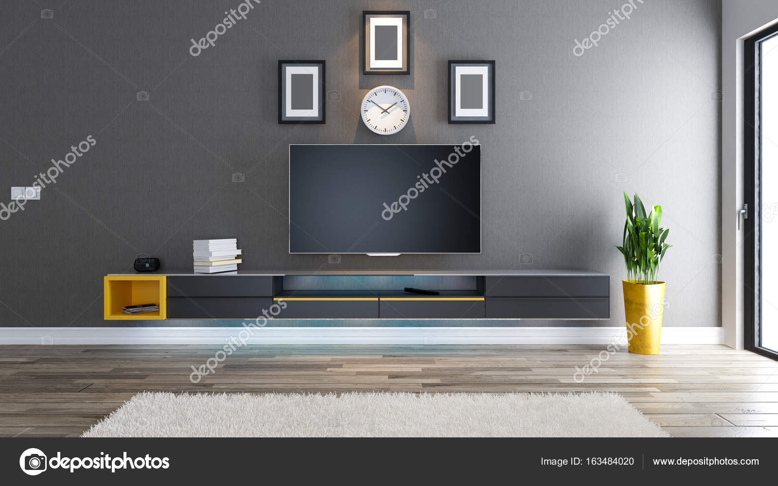 Tv kamer interieur design idee u stockfoto sseven