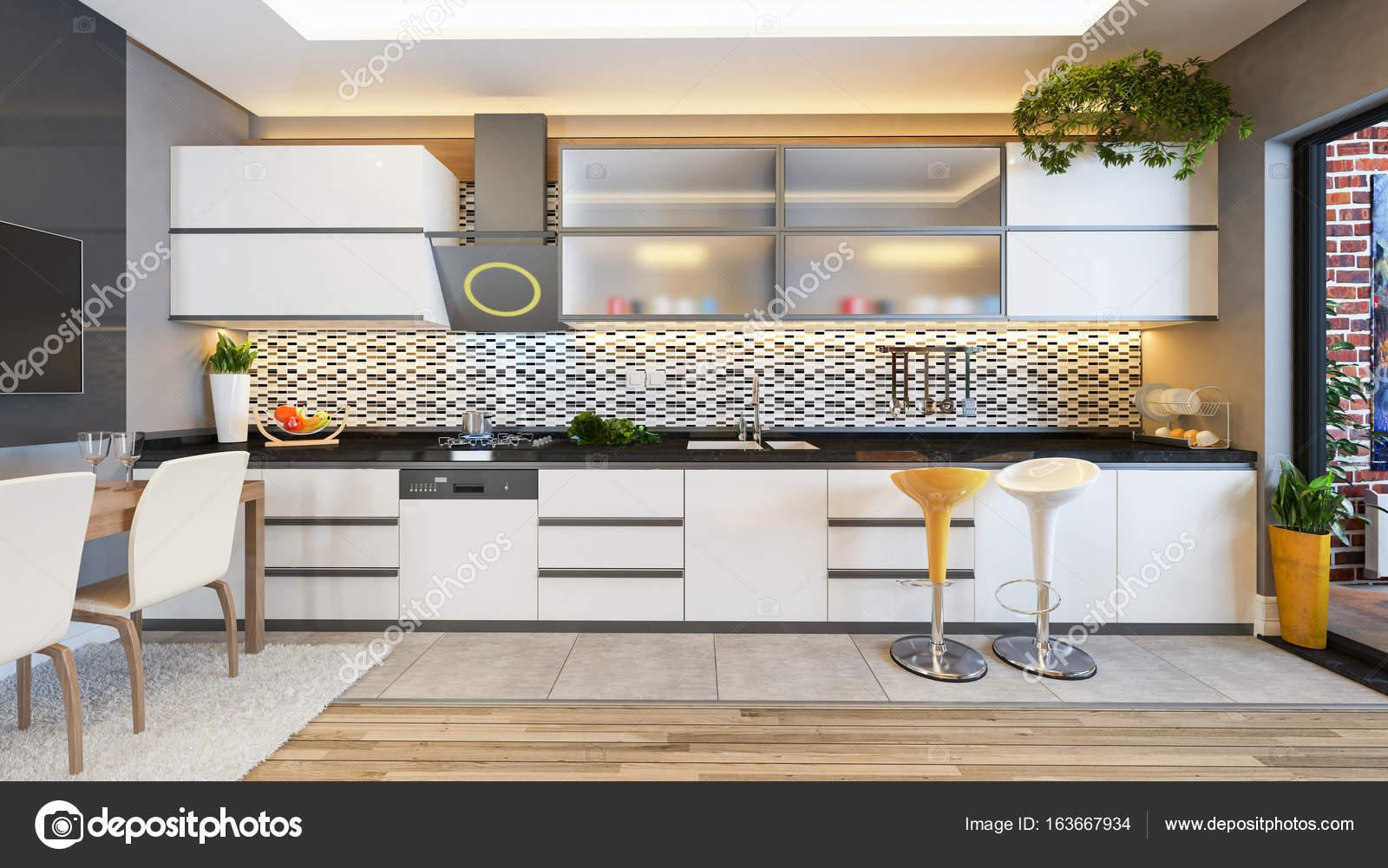 weiße Küche Design-Dekor-Idee — Stockfoto © sseven #163667934