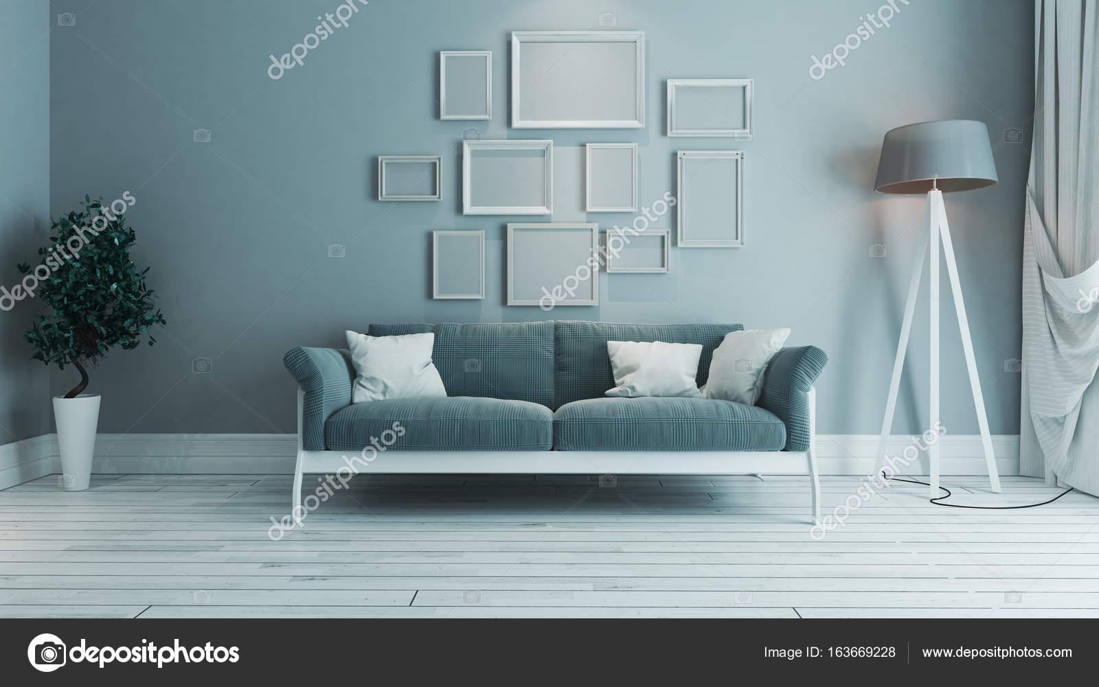 sala de estar de color azul con idea de diseño de interiores de ...