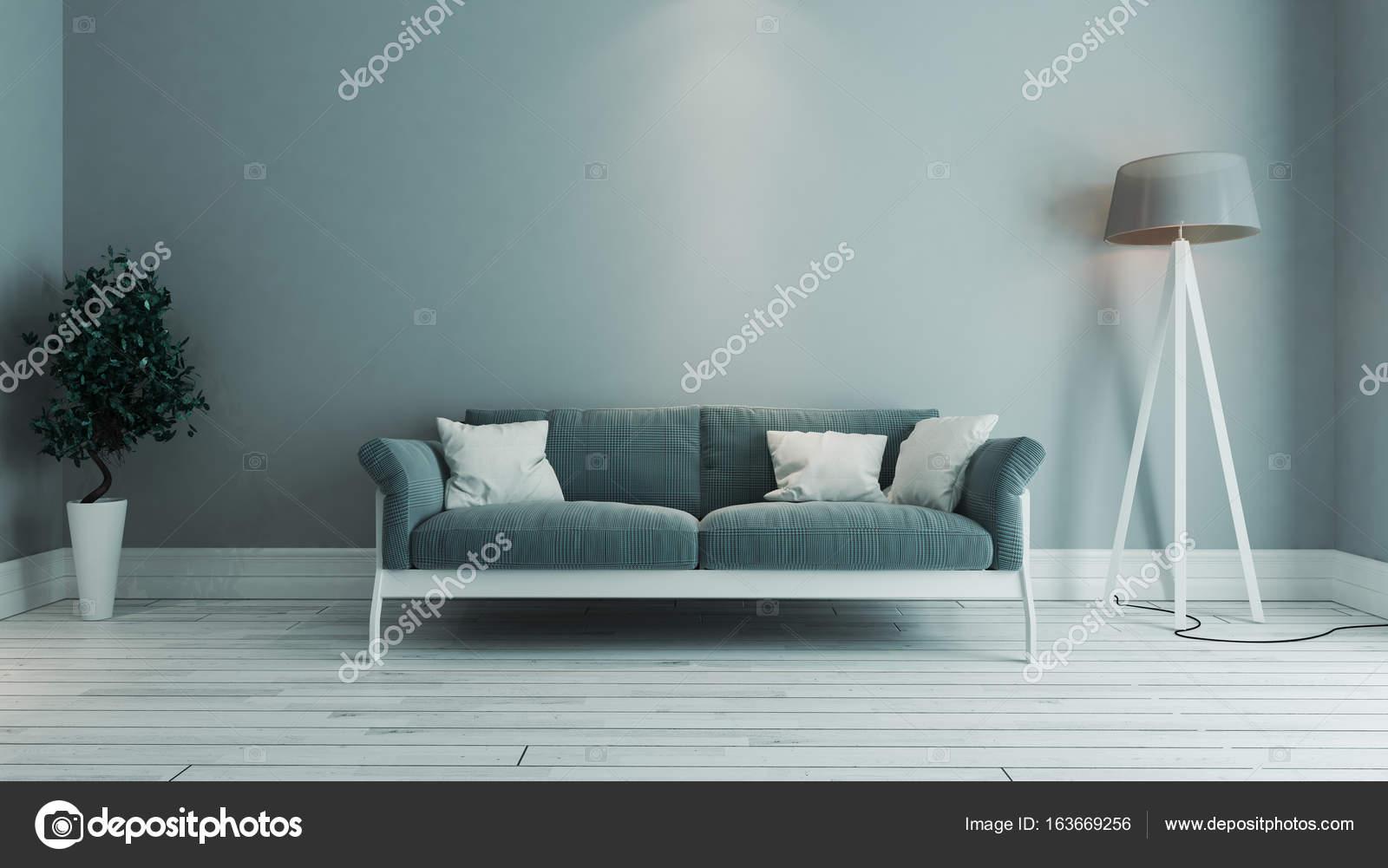 Blaue Farbe Wohnzimmer Interior Design Mit Blauem Sitz Und Grüne Pflanze  3D Rendering U2014 Foto Von Sseven