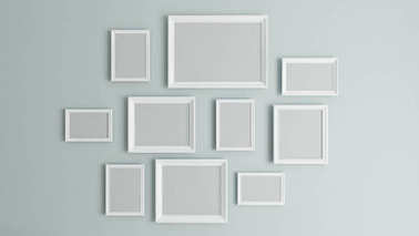 Photo or picture art on vintage wall with white border frame 3D rendering stock vector