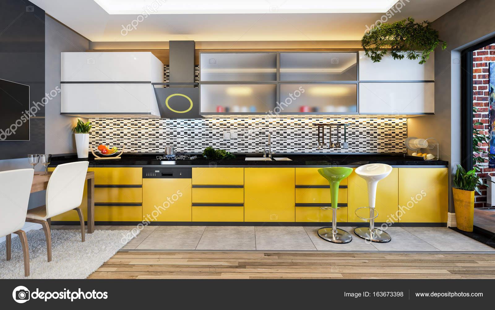 Gelbe Farbe Kuche Design Dekor Idee Stockfoto C Sseven 163673398