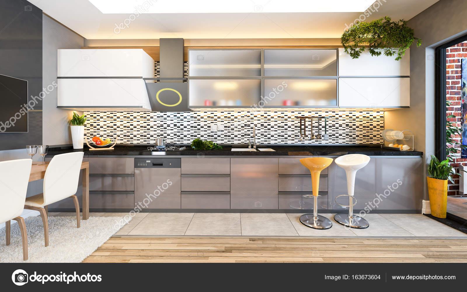 Cappuccino-Farbe-Küche-Design-Dekor-Idee — Stockfoto © sseven #163673604