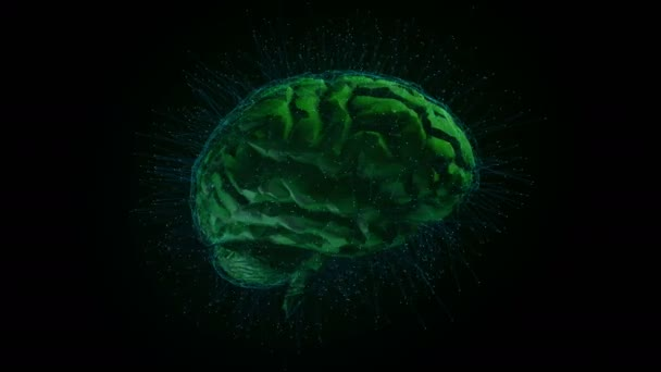 Digital brain. Artificial intelligence. Head X-ray. Rotating X-rays of the cerebral lobes. High-quality computer animation.