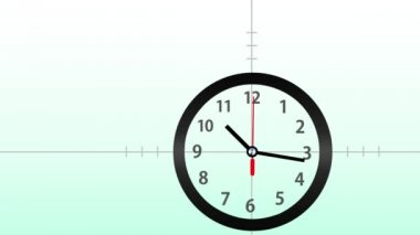Time concept with working clock on gradient green background