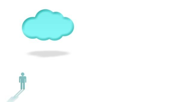 Špičkové technologie koncept s lidmi s notebooky připojení k velké modrý mrak izolovaných na bílém pozadí