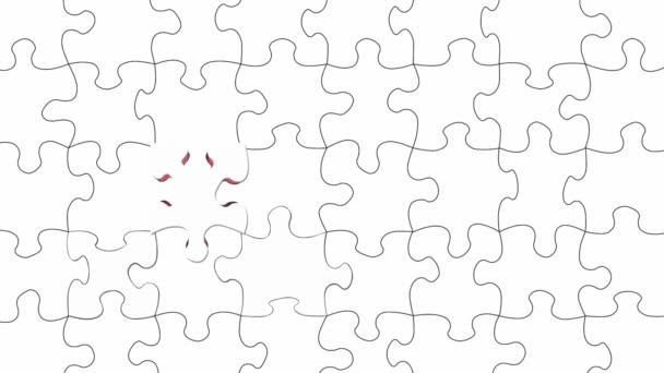 Puzzle s červeným pozadím bílého