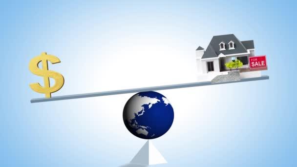 Globuswaage mit und Haus, Sparkonzept