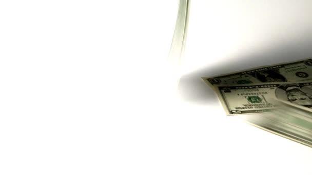 dolarové bankovky padají na světlé pozadí, koncept ekonomiky