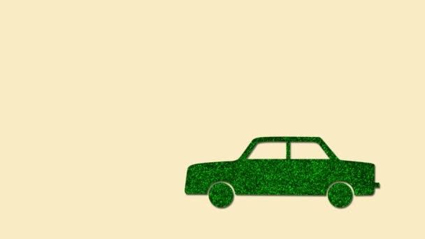 Koncept prostředí ECO s pohyblivými auto vyrobené ze zelených listů