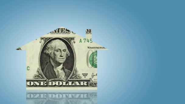 dolarové bankovky ve formě domovní znamení, koncept ekonomiky