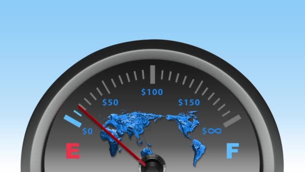 Rychloměr s mapa světa a dolaru známky, globální ekonomika koncept