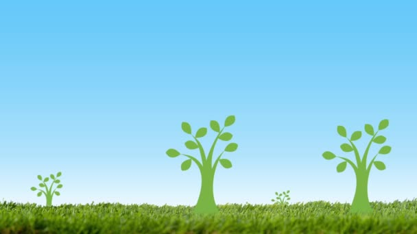 Eco environment concept with green grass, trees and pinwheel on blue background