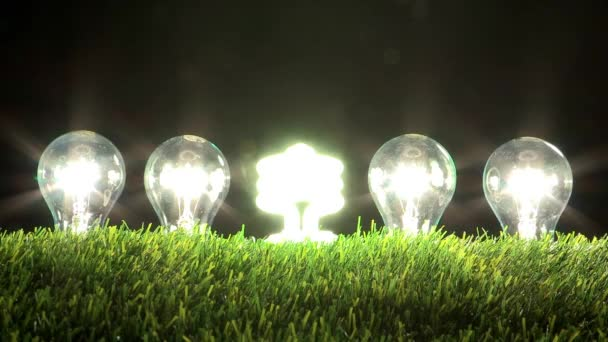 illuminating led lamp with flashing light bulbs in grass
