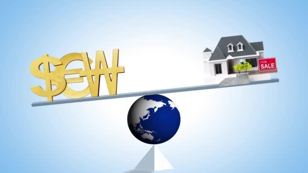 Globalwaage mit Währungssymbolen und Haus, Sparkonzept