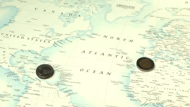 stacks of coins appearing on world map background, economy concept