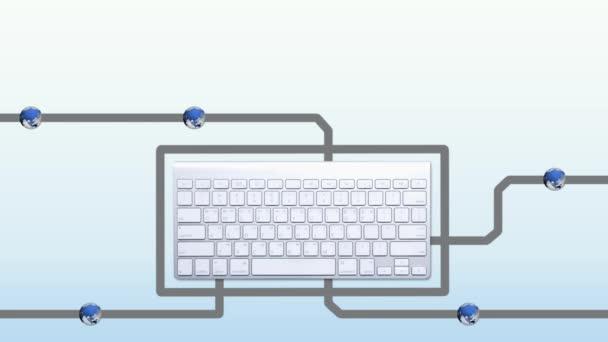 Koncepce komunikace klávesnice s připojením na modré pozadí s přechodem