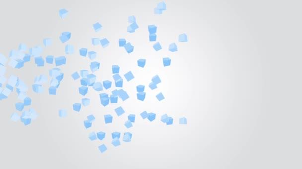 Padající modré kostky na šedém pozadí s přechodem