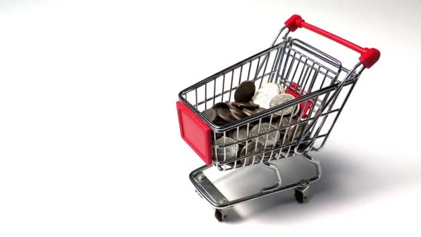 coins flying out of shopping cart, business concept