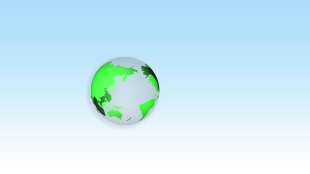 Eco prostředí koncepce se zemí, mapa světa z trávy s květinami na modrém pozadí