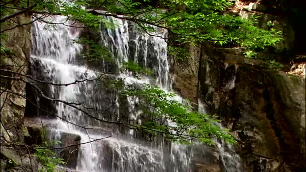 rapid waterfall on huge rock