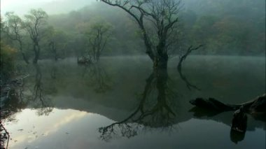Hills reflecting on mirror surface of lake