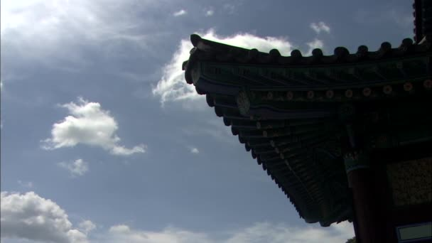 Bottom view of roof and columns of traditional korean temple building