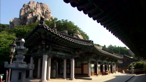 Buildings in traditional korean architect style on territory of buddhist temple