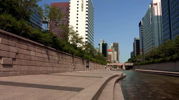 Landscape of the Cheonggye creek in Seoul