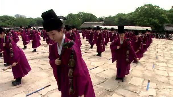 fiatal koreai tánc a királyi ősi rituálé, Jongmyo, Korea