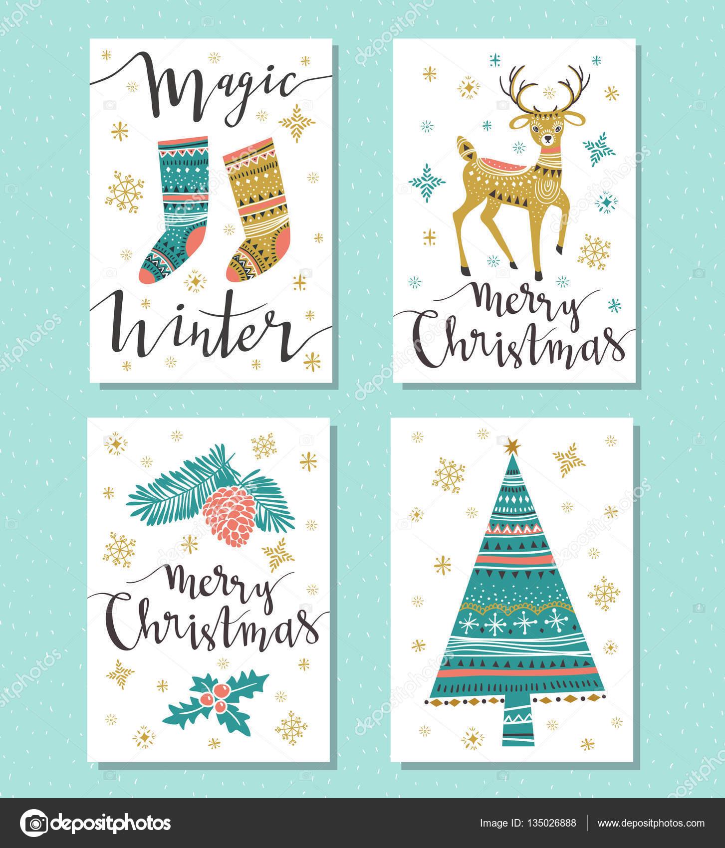 Christmas Set Grußkarten — Stockvektor © Utro-na-more #135026888
